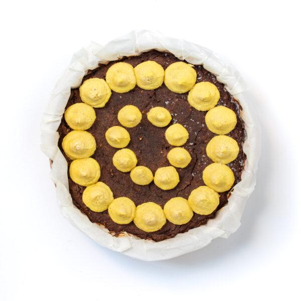 Double chocolate mango cake top